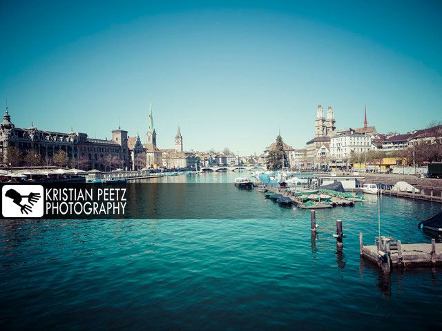 View of the skyline of Zurich from the river Limat - copyright: Kristian Peetz