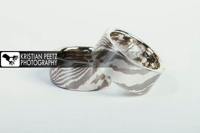 "Finished wedding rings ""Mokume Gane""-Style - Copyright: Kristian Peetz"