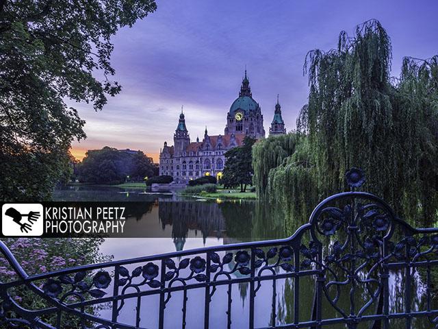 Deutschland, Hannover, Blick auf das Neue Rathaus aus den Grünanlagen um den Maschteich aus, bei farbenfrohen Sonnenuntergang.